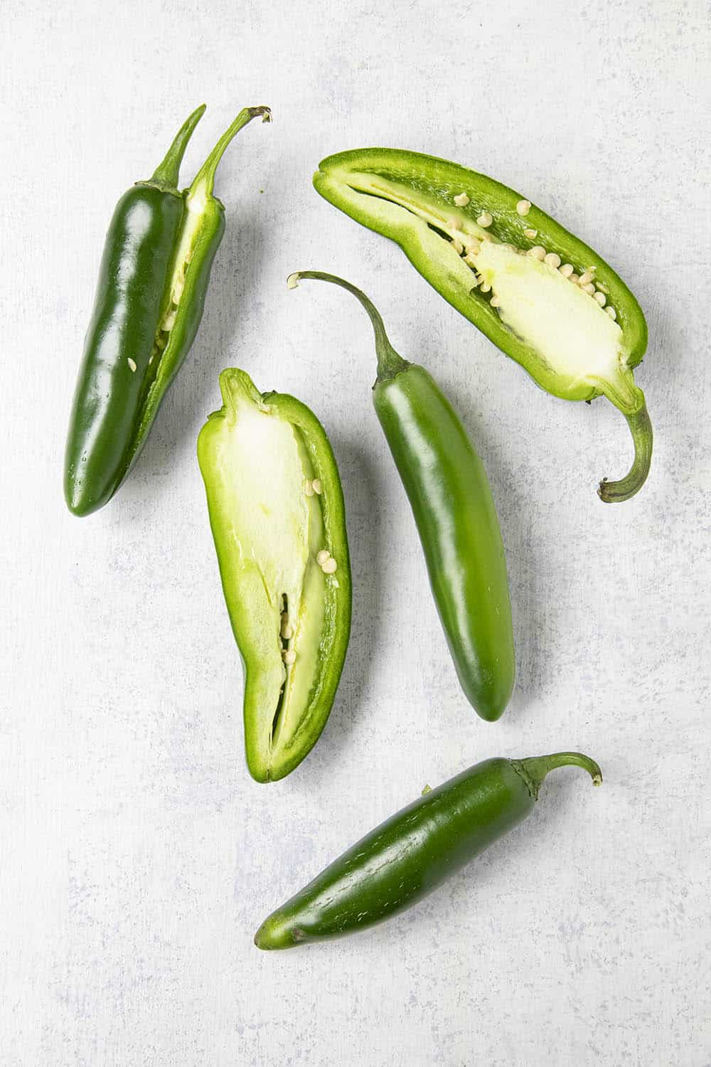 Jalapeno peppers and serrano peppers