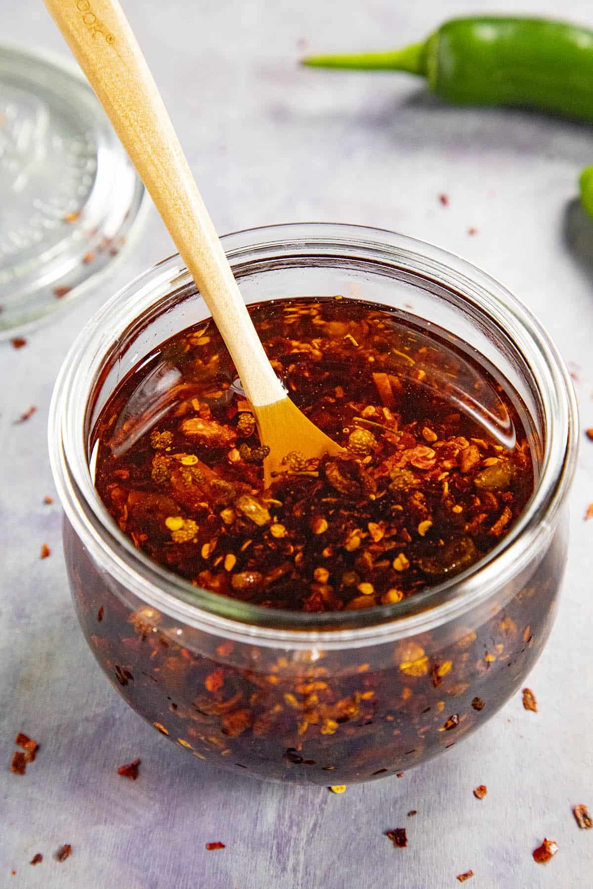 Chili Crisp in a jar, ready to serve
