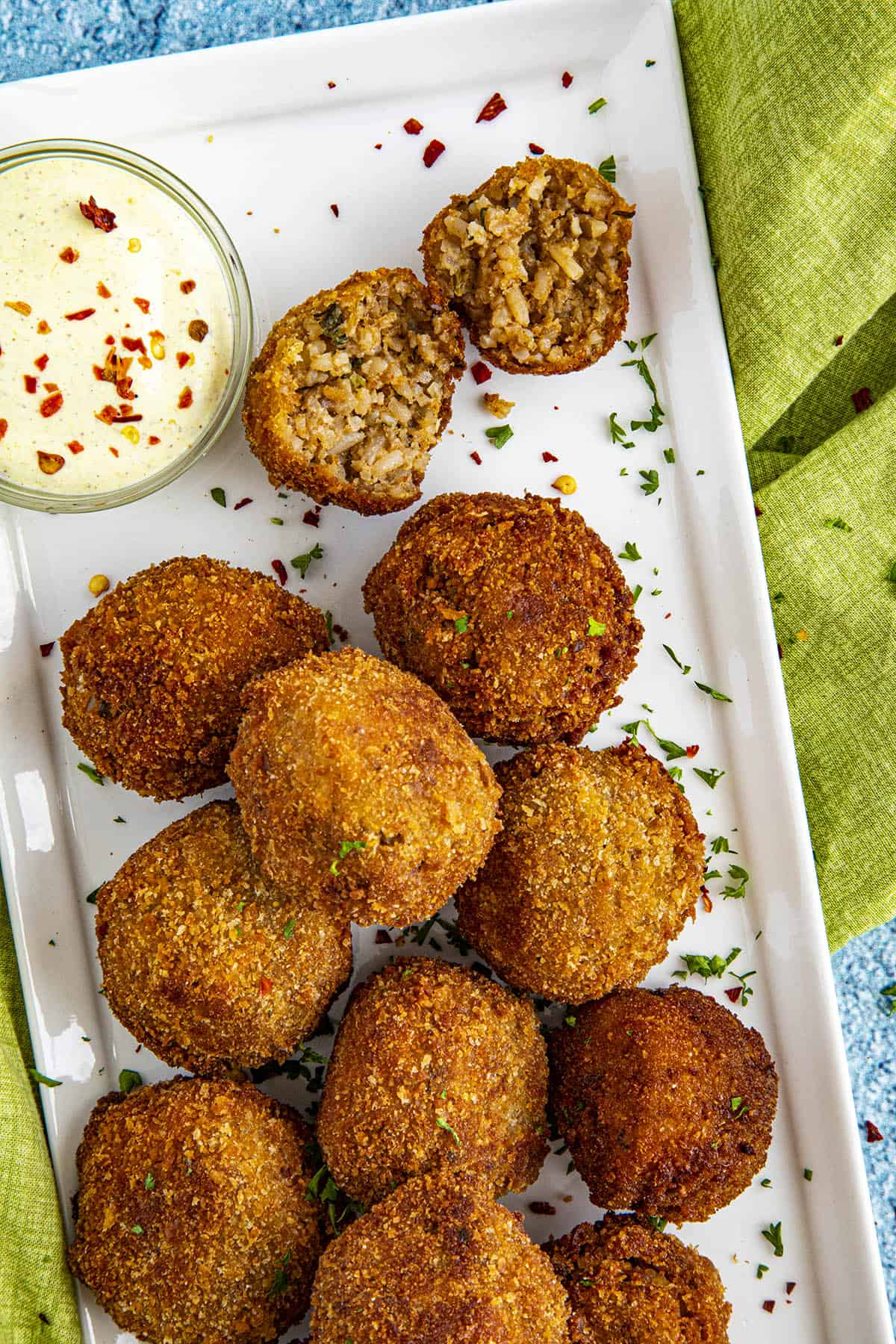 Boudin balls on a plate