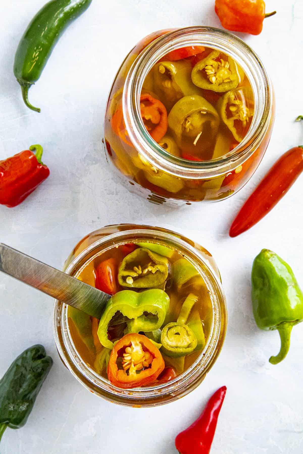 Pickled peppers in a jar, ready to serve