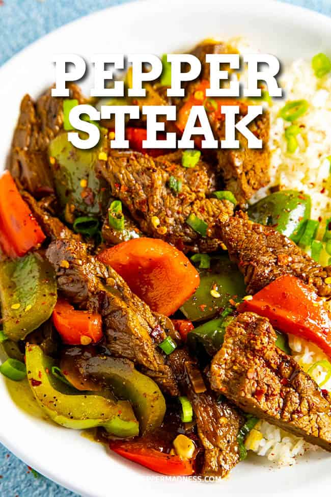 Pepper Steak Recipe - The best pepper steak recipe is easy to make, with marinated strips of flank steak, lots of peppers and flavorful sauce, better than any Chinese restaurant. #easydinner #Chinesefood #flanksteak