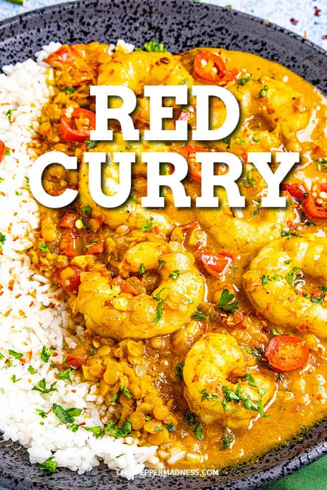 Red Curry Recipe - This Thai red curry recipe is so easy to make with red curry paste and coconut milk, served with shrimp and lentils, though you can use your favorite proteins and vegetables. Done in under 30 minutes! #curry #easymeals #thaifood