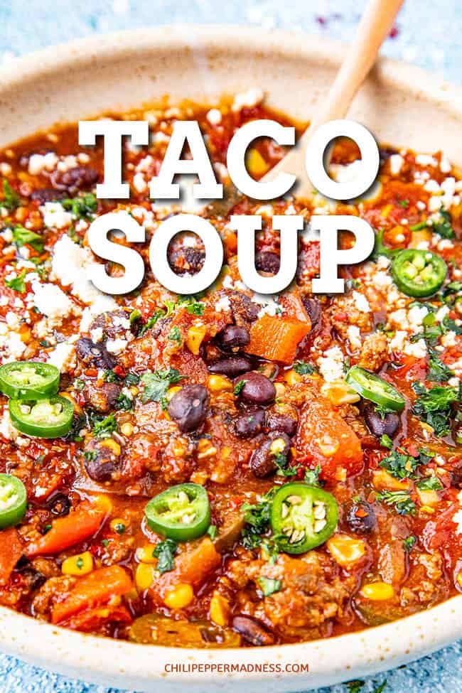 Easy Taco Soup Recipe - This easy taco soup recipe is loaded with tomato, chilies, black beans, and all the fixings. It\'s thick, chunky with just the right amount of spice. Easy weeknight dinner! #souprecipe #tacos #easymeals