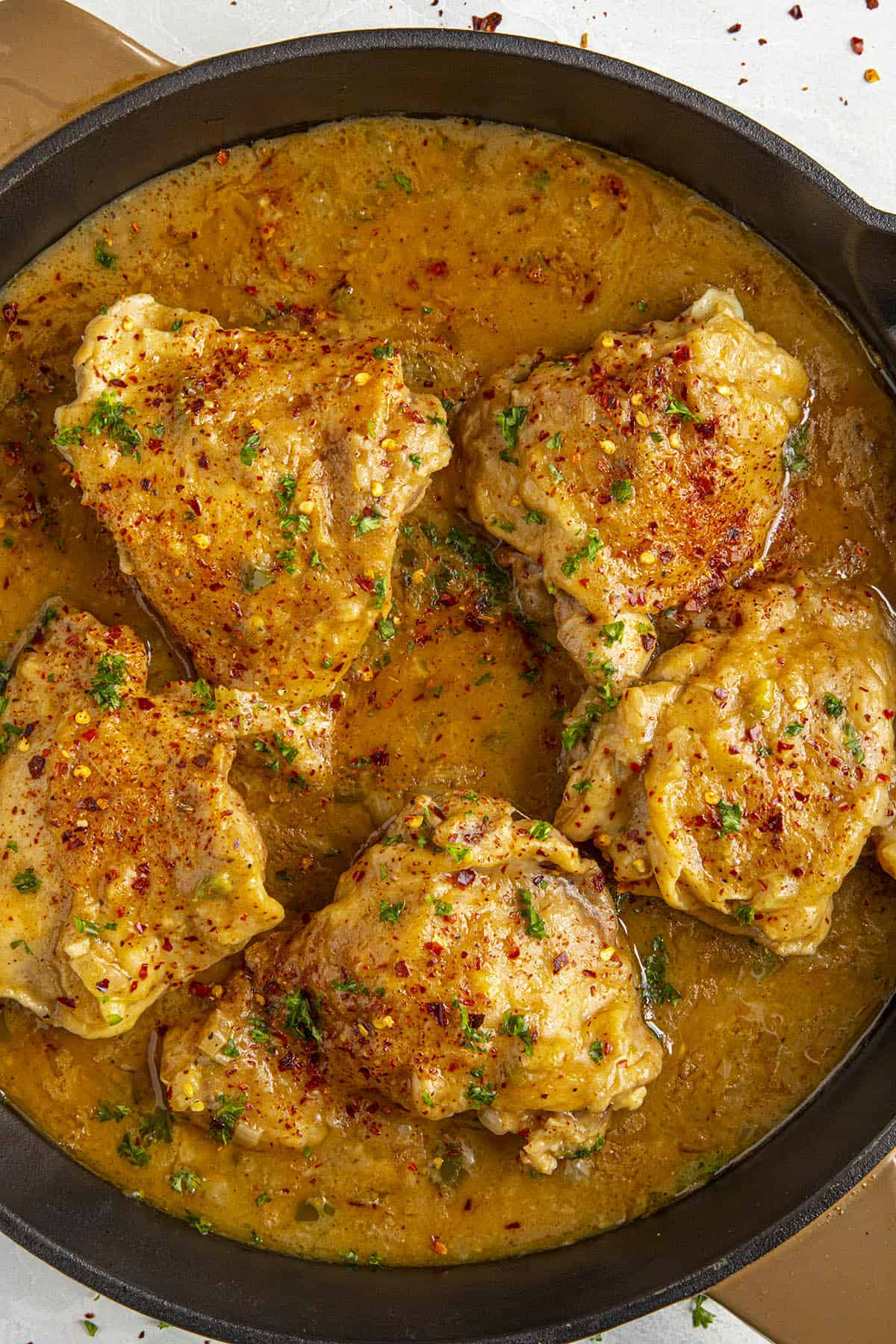Chicken Fricassee in a pan ready to serve
