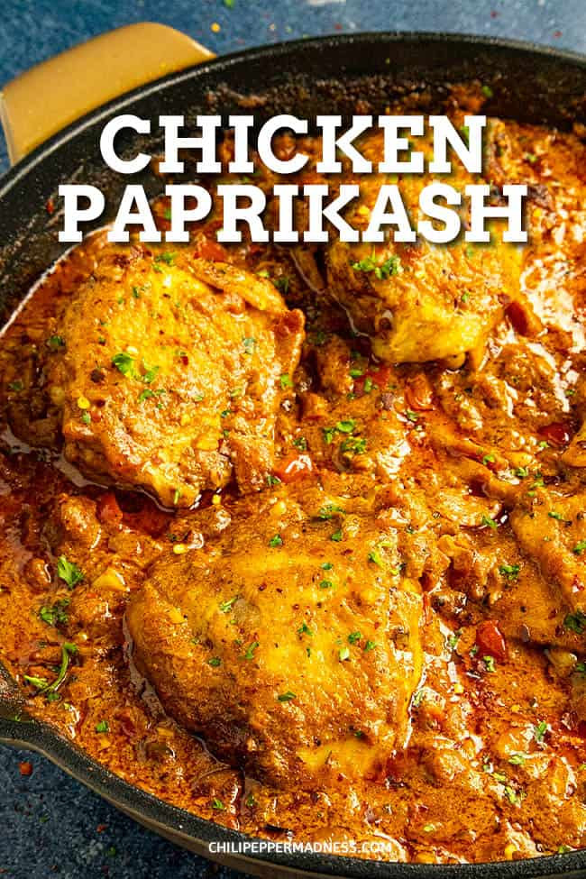 Chicken Paprikash Recipe - This Hungarian chicken paprikash recipe is authentic and easy to make, with seared chicken simmered and served in creamy paprika sauce. Mild or spicy! #paprika #chickendinner #easydinner #spicyfood