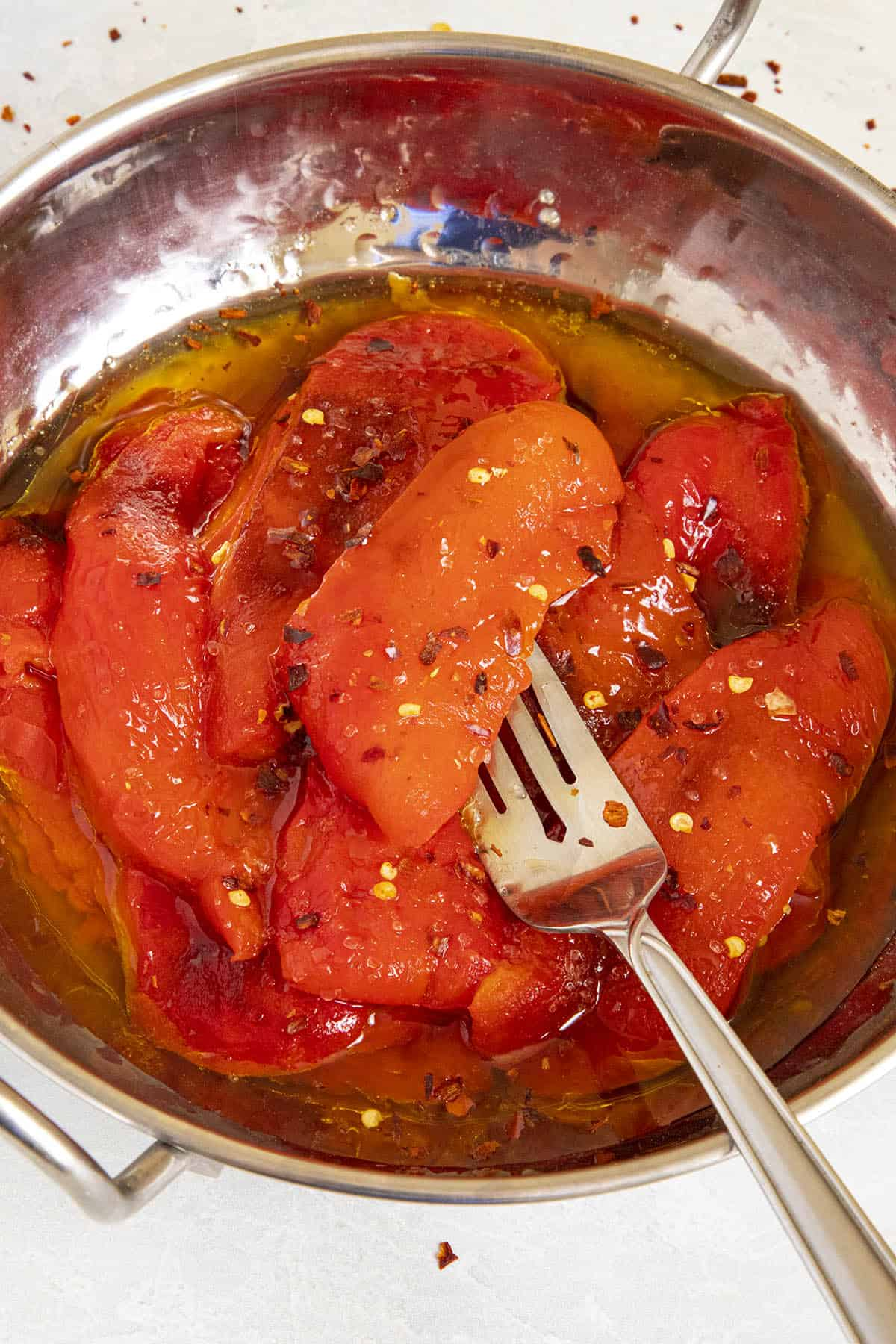 Roasted Red Pepper on a fork