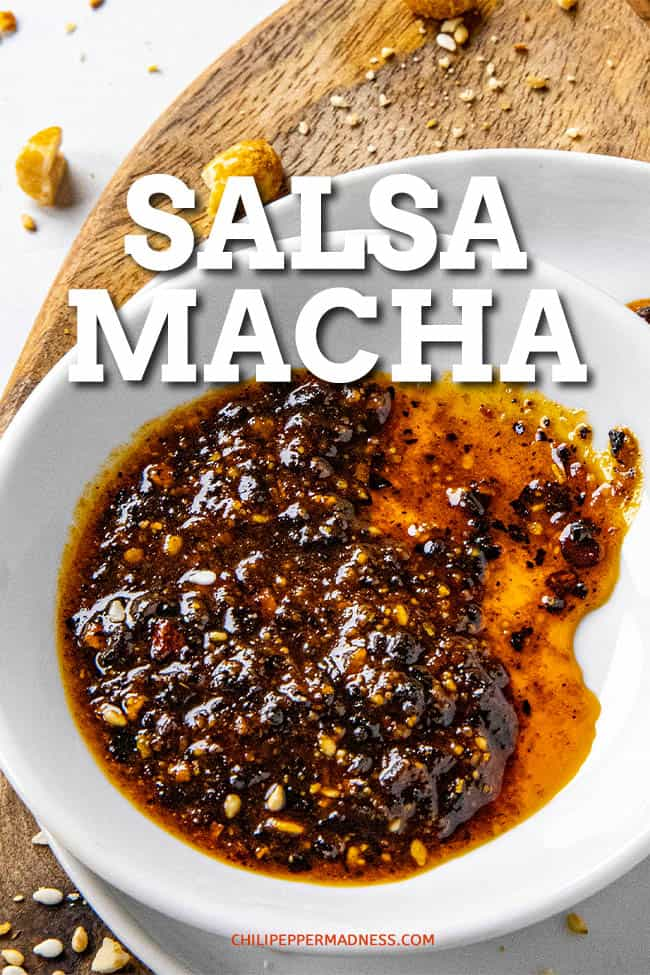 Salsa Macha Recipe - This Mexican salsa macha recipe is the perfect condiment, made with crispy bits of toasted chili peppers, garlic, peanuts and sesame seeds in oil. Spoon it over everything! #salsa #Mexicansalsa