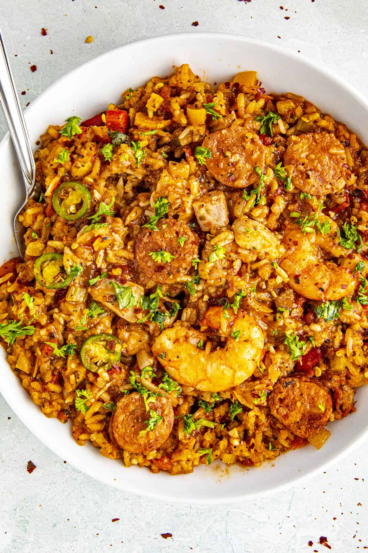 Delicious jambalaya in a bowl, ready to enjoy