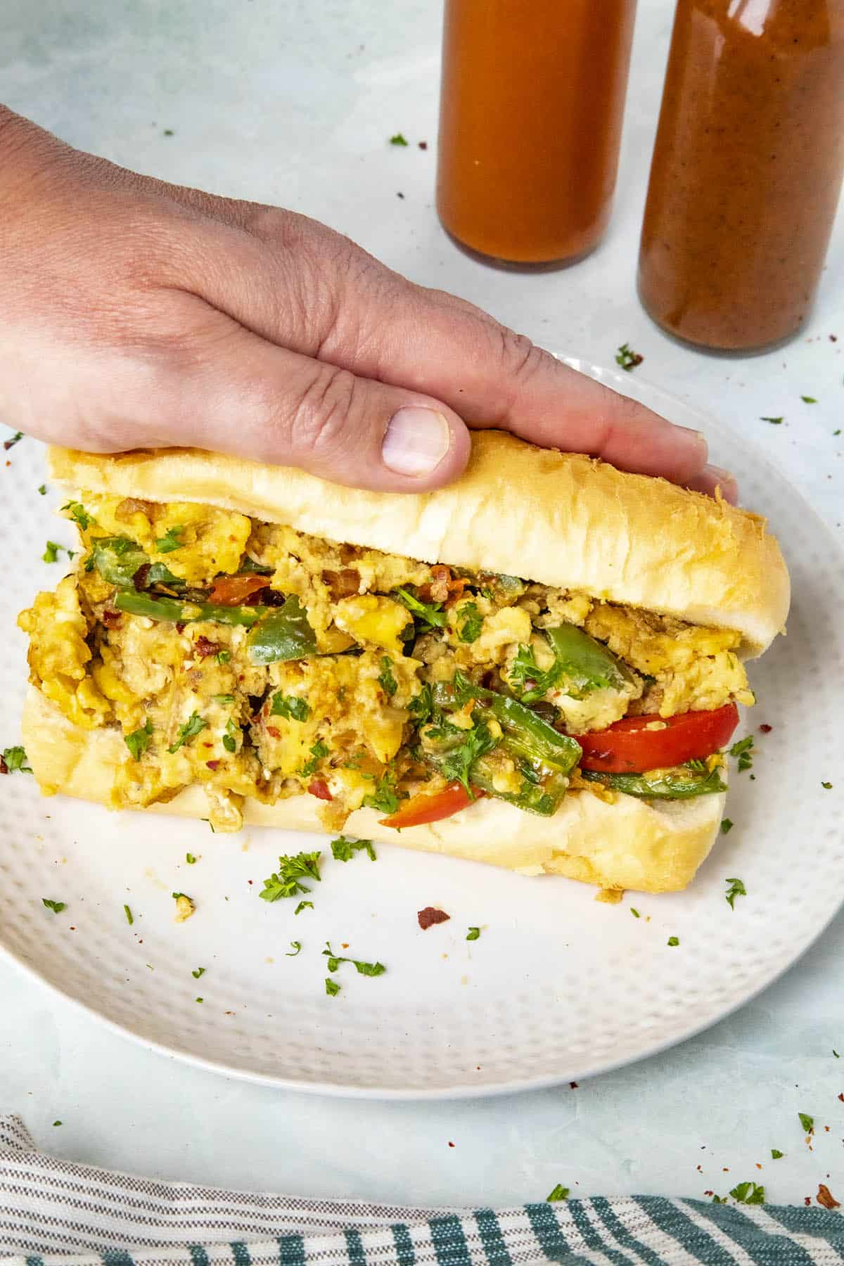 Pepper and Egg Sandwich, ready to enjoy