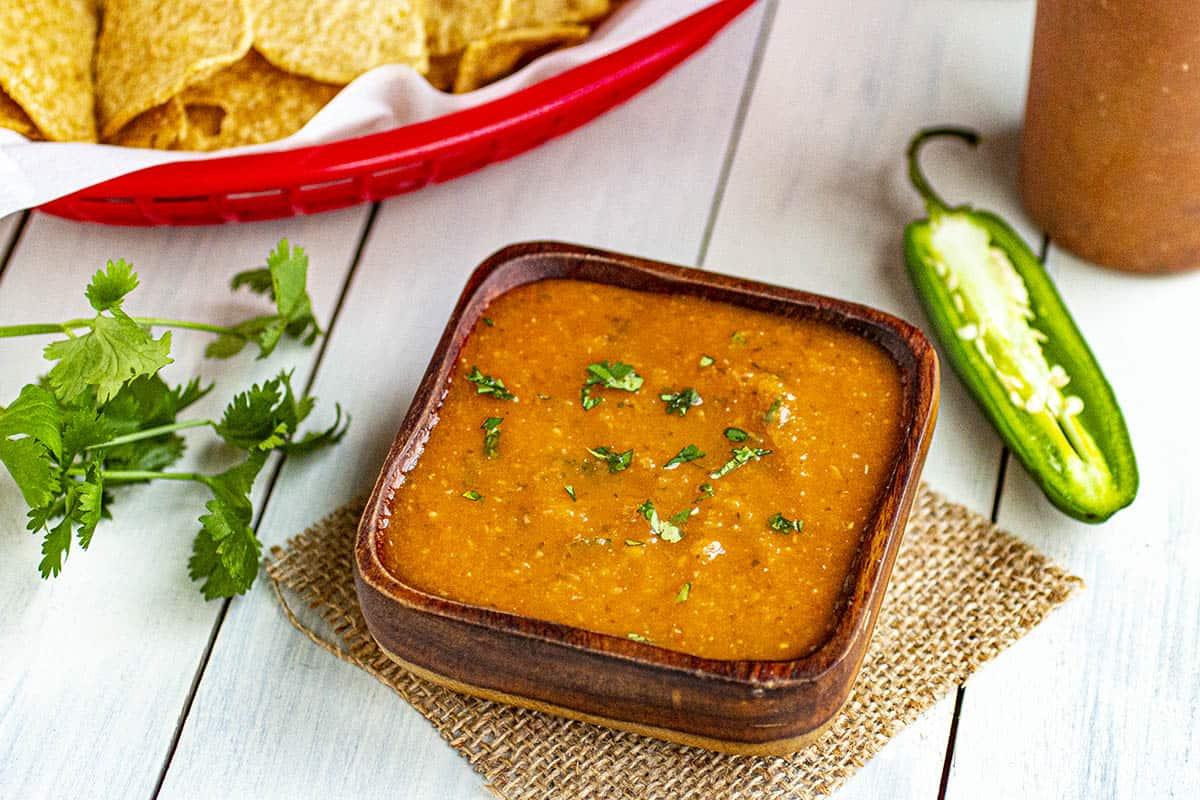 Salsa Roja served with tortilla chips
