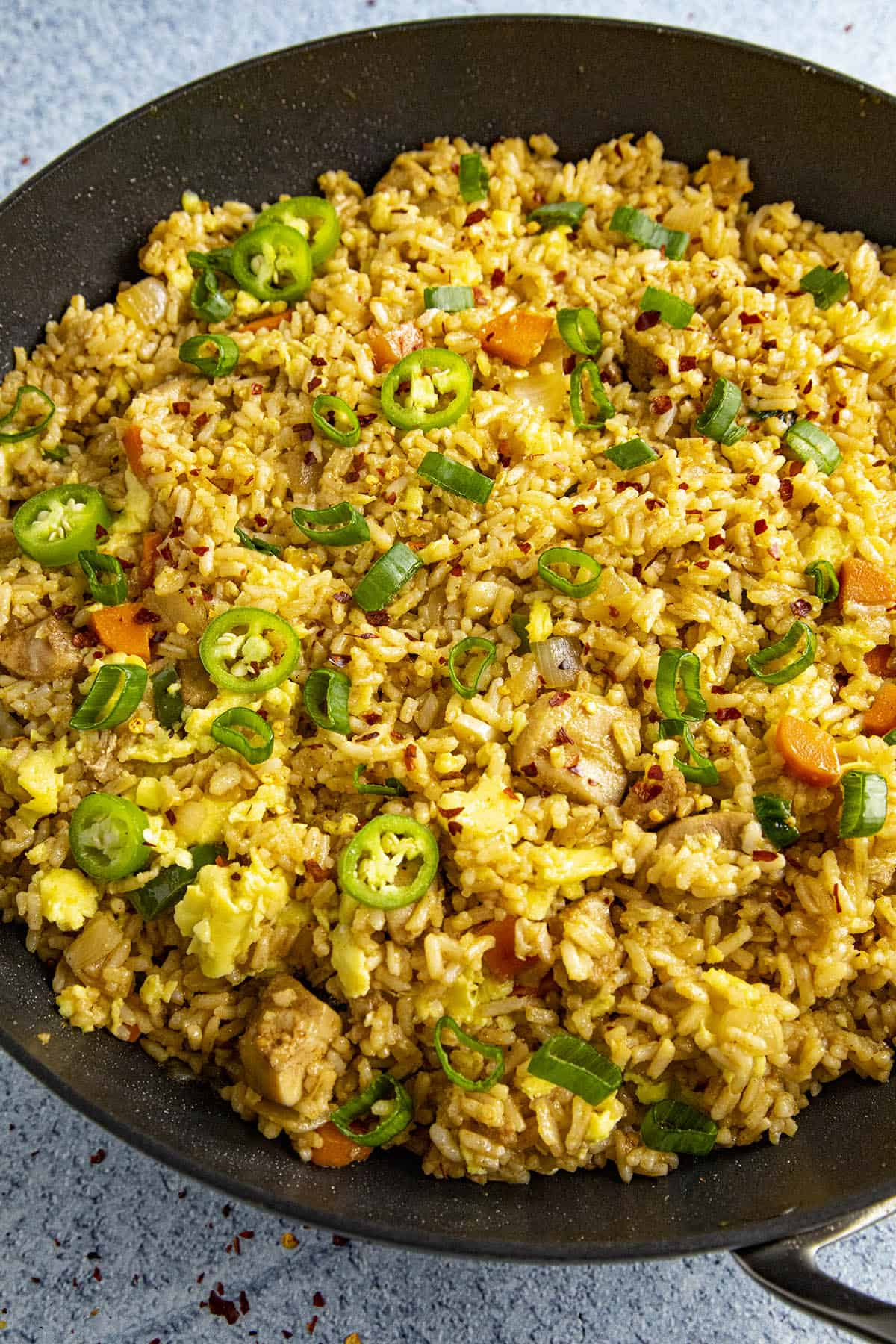 Spicy Chicken Fried Rice in a pan