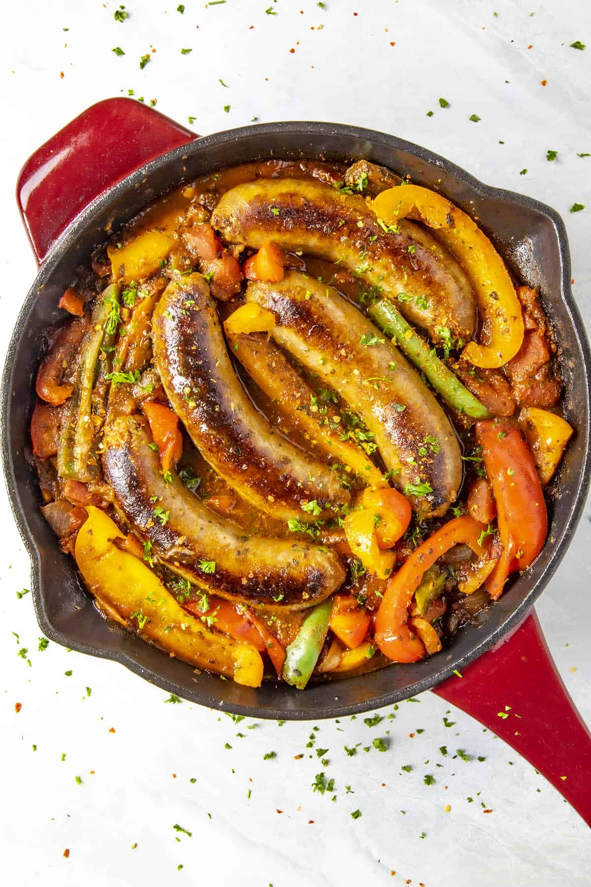 Sausage and Peppers ready to eat straight from the pan