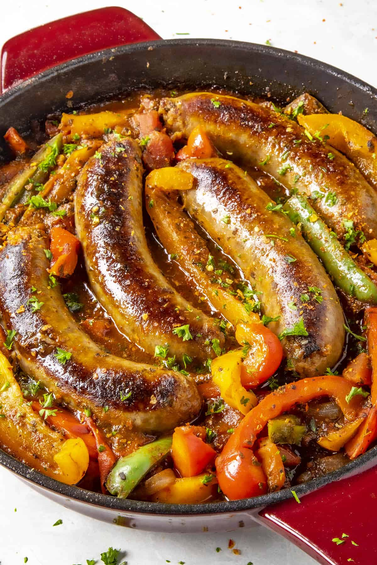 Sausage and Peppers sizzling in a pan
