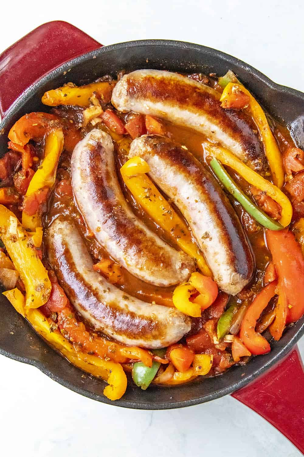 Simmering my Sausage and Peppers in a hot pan