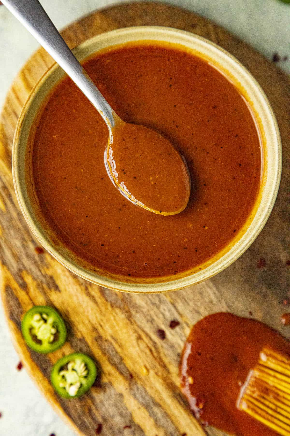 Sweet and Spicy BBQ Sauce on a spoon