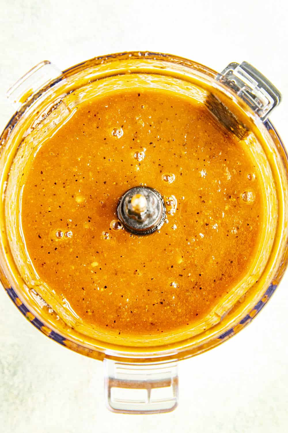 Processed bbq sauce in a food processor