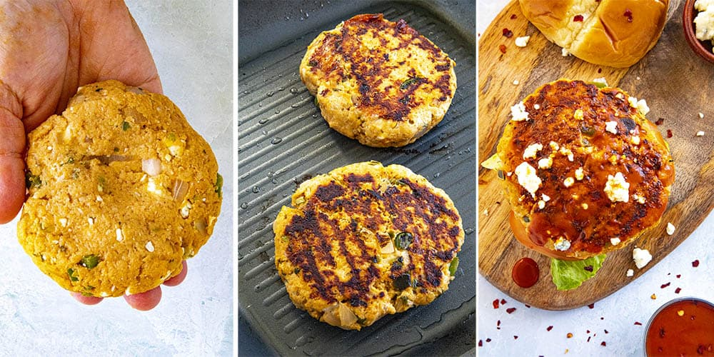 Steps for making Buffalo chicken burgers, including making the patties, cooking them in a pan, then garnishing them with blue cheese and Buffalo sauce