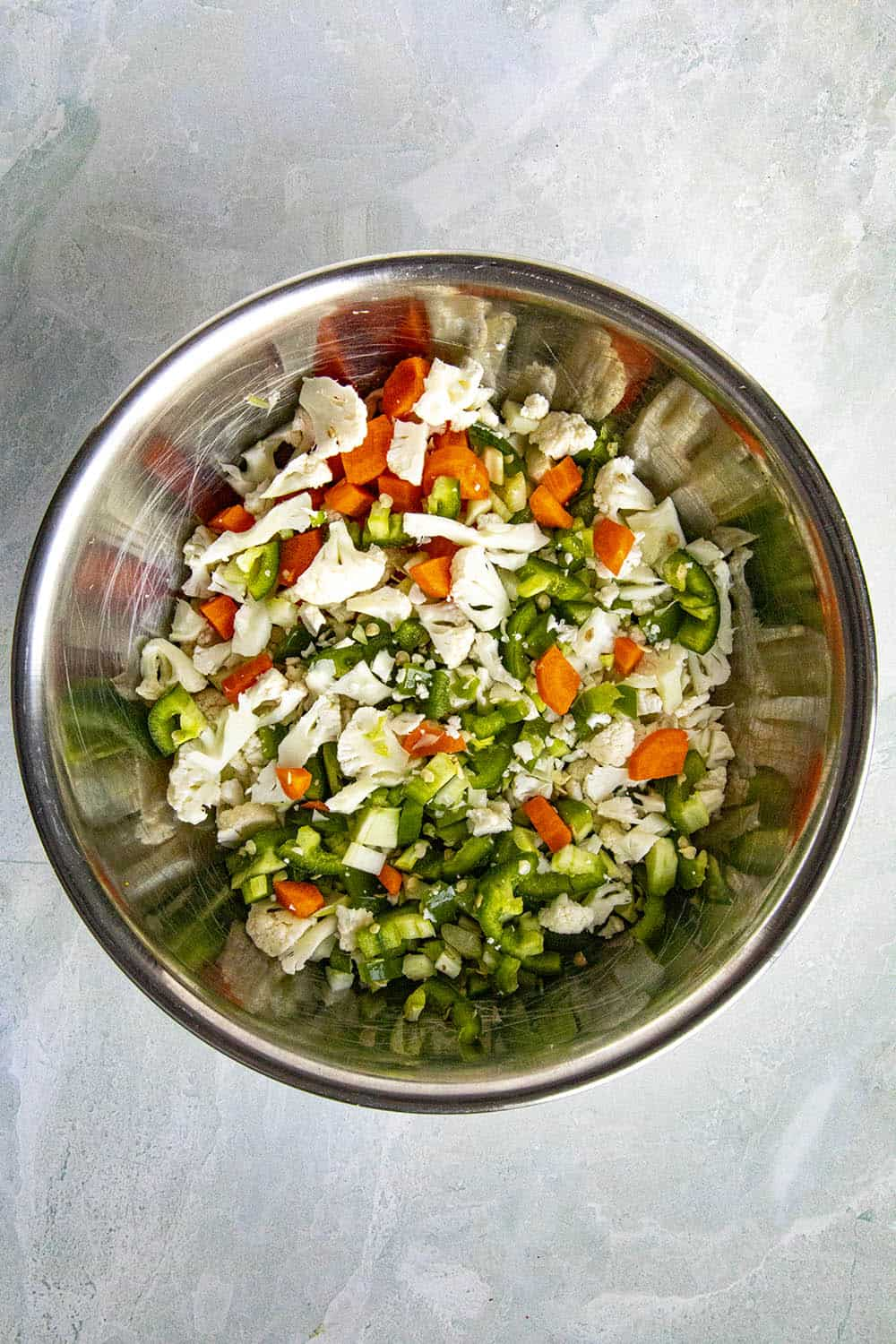 Fresh chopped vegetables in a bowl for making Chicago Style Giardiniera