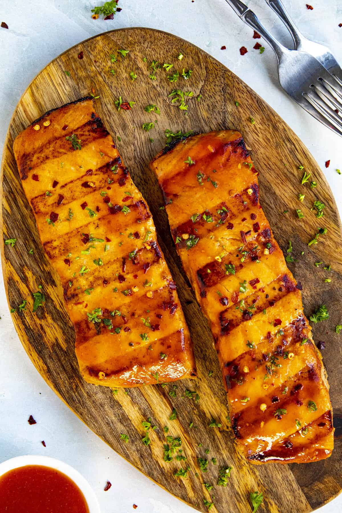 Grilled Salmon with Honey Sriracha Sauce on a serving platter