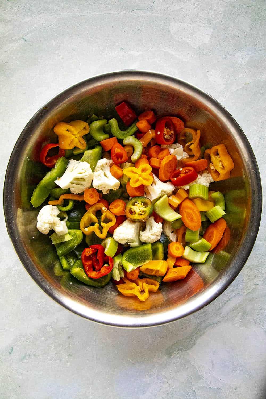 Italian Giardiniera Ingredients in a bowl