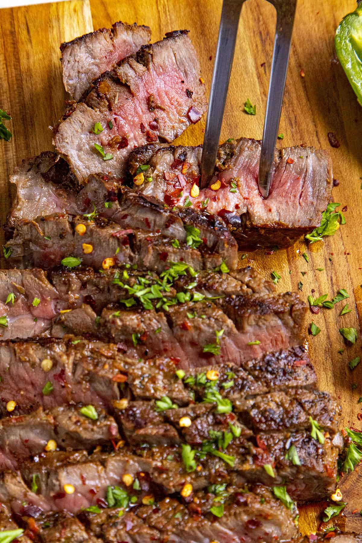 A juicy cut of sliced London broil