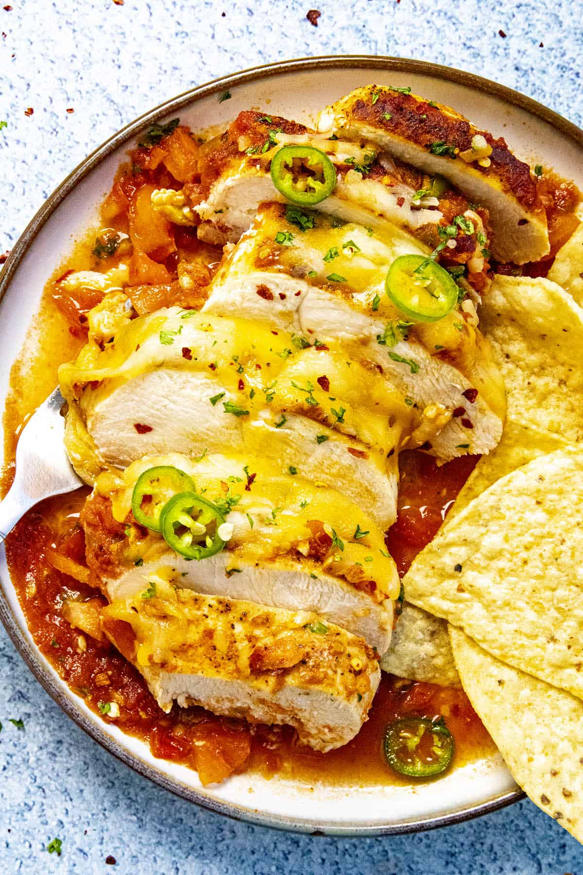 Sliced salsa chicken with cheese and tortilla chips
