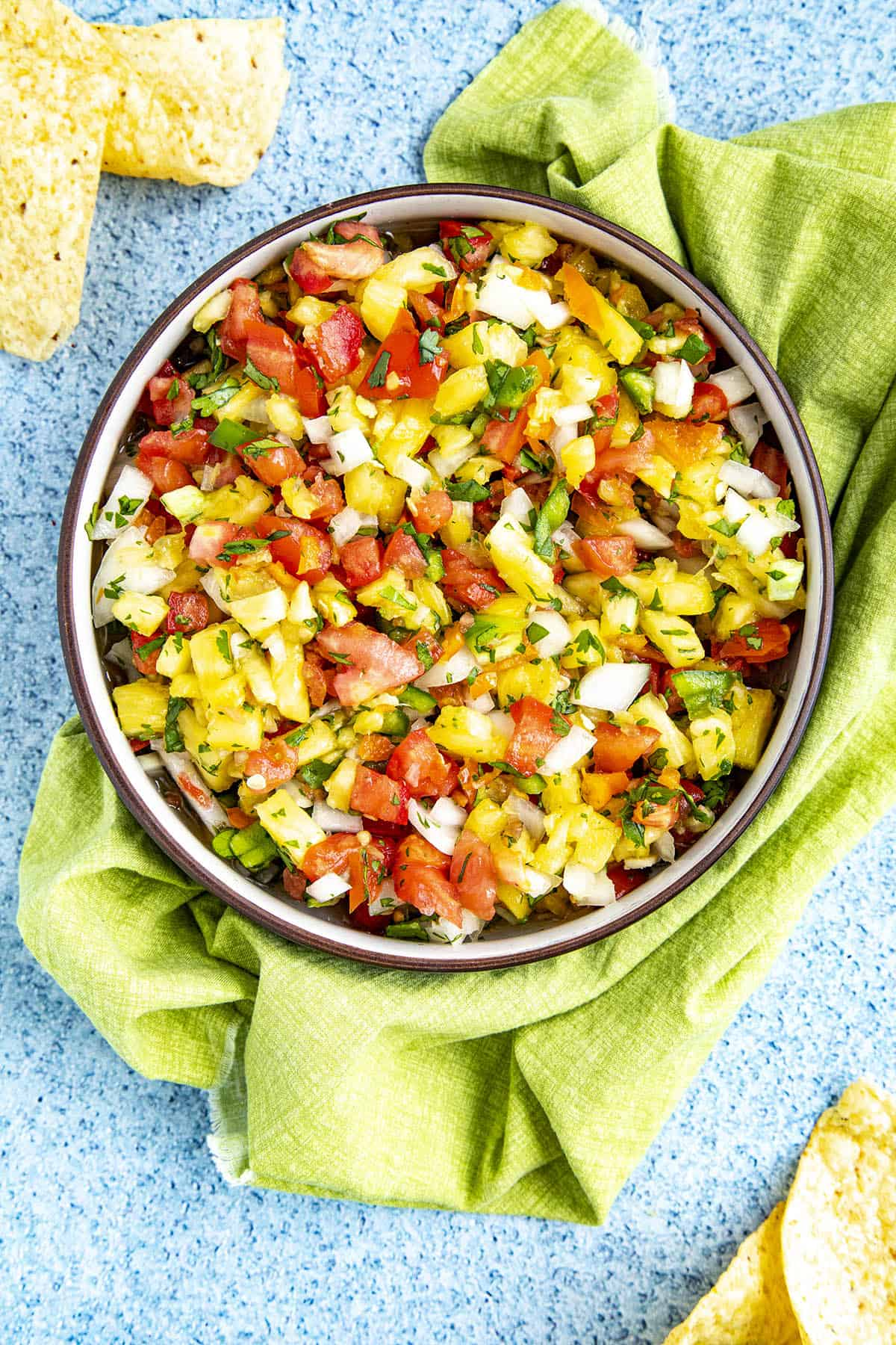 Spicy Pineapple Salsa in a bowl, ready to serve