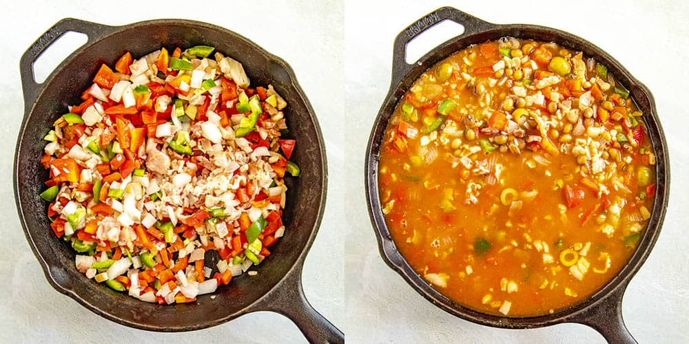 Simmering Arroz con Gandules in a pan