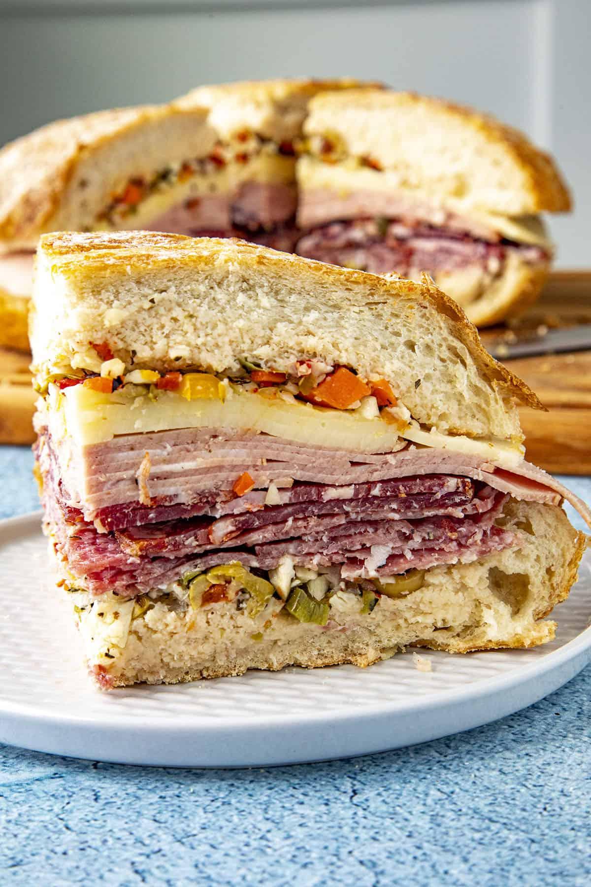 A slice of a Muffaletta sandwich
