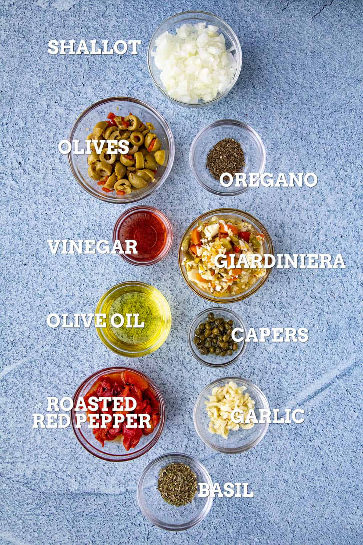 Ingredients for making muffaletta tapenade