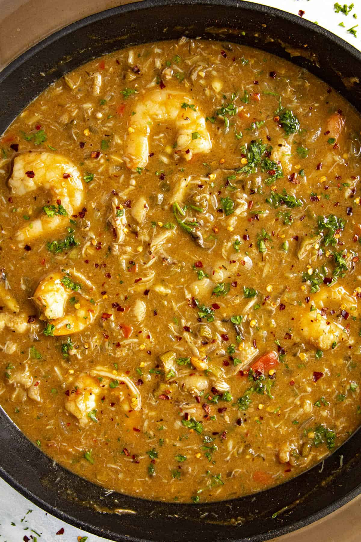 Seafood Gumbo in a pot