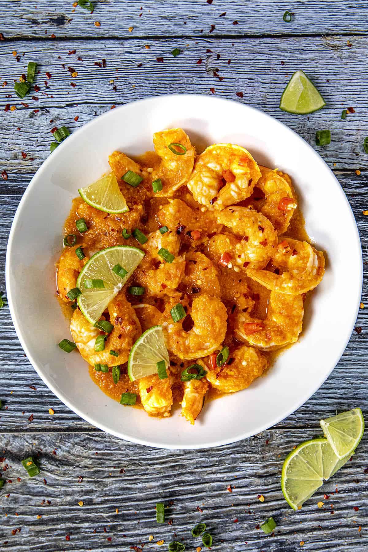 Mike ready to enjoy a bowl of Udang Balado Recipe (Indonesian Spicy Shrimp)