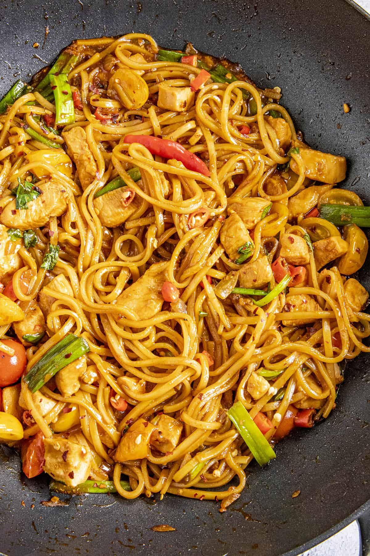 Spicy Drunken Noodles in a pan