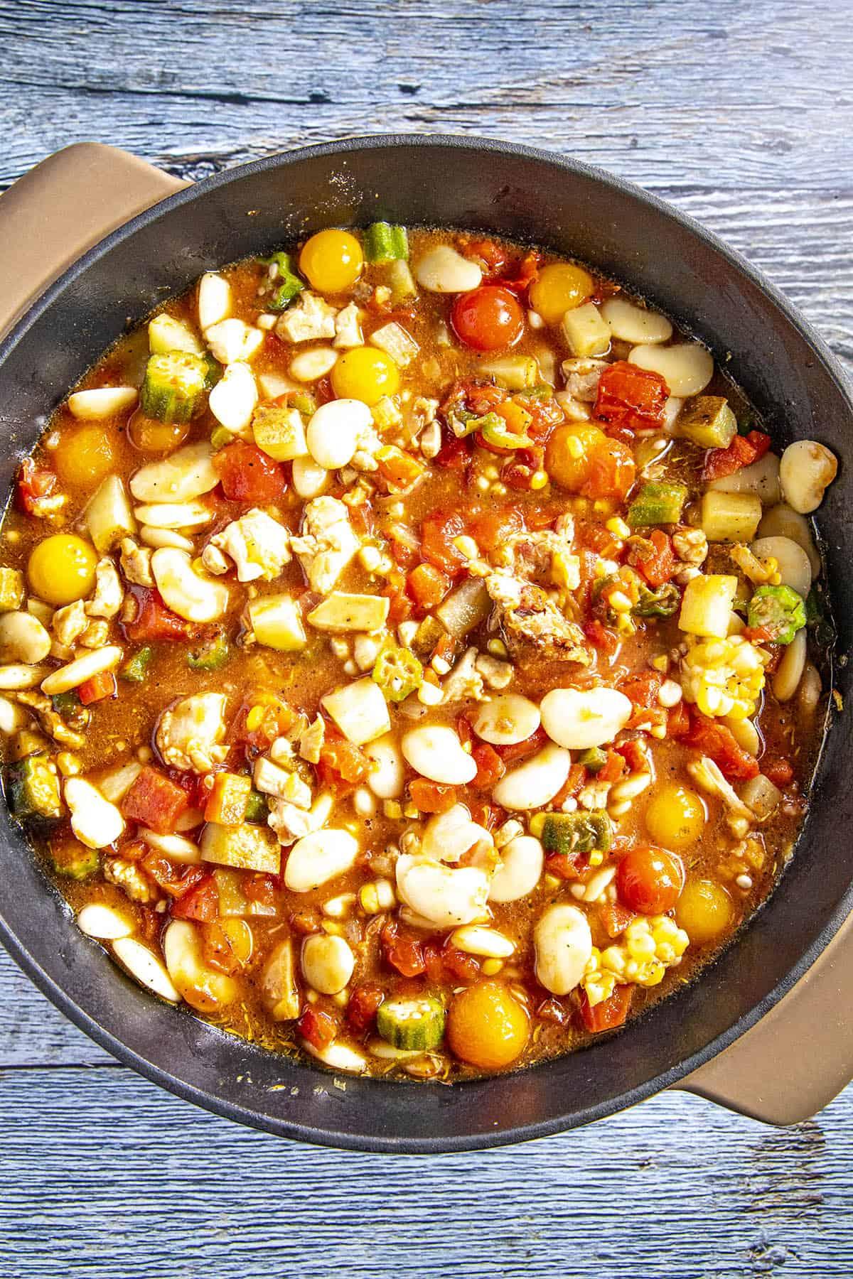 Brunswick Stew simmering in a pot