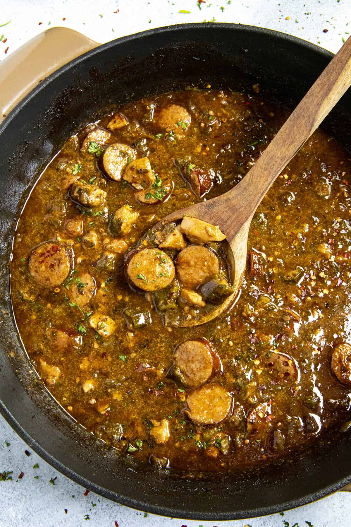 Cajun Chicken and Sausage Gumbo on a spoon