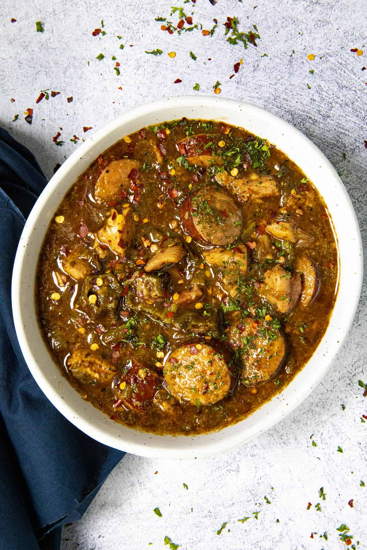 Cajun Chicken and Sausage Gumbo in a bowl