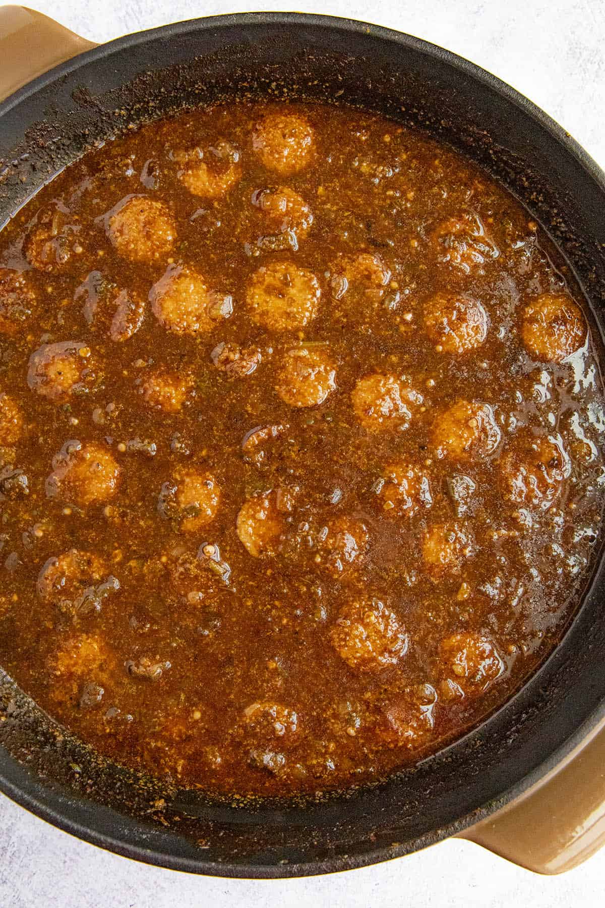 The final simmer of our Cajun Chicken and Sausage Gumbo in a pot