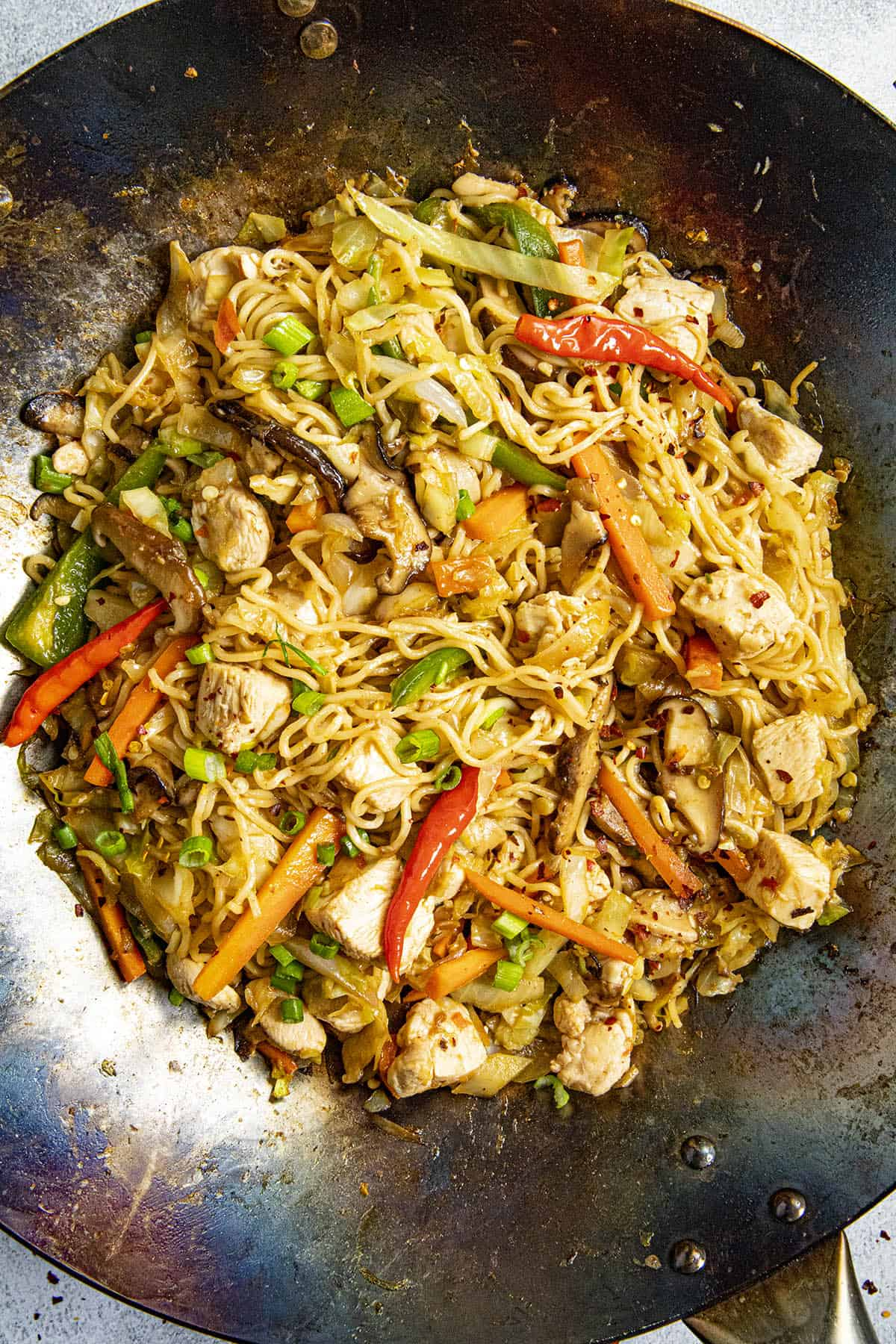 Yakisoba Noodles in a hot wok, ready to serve