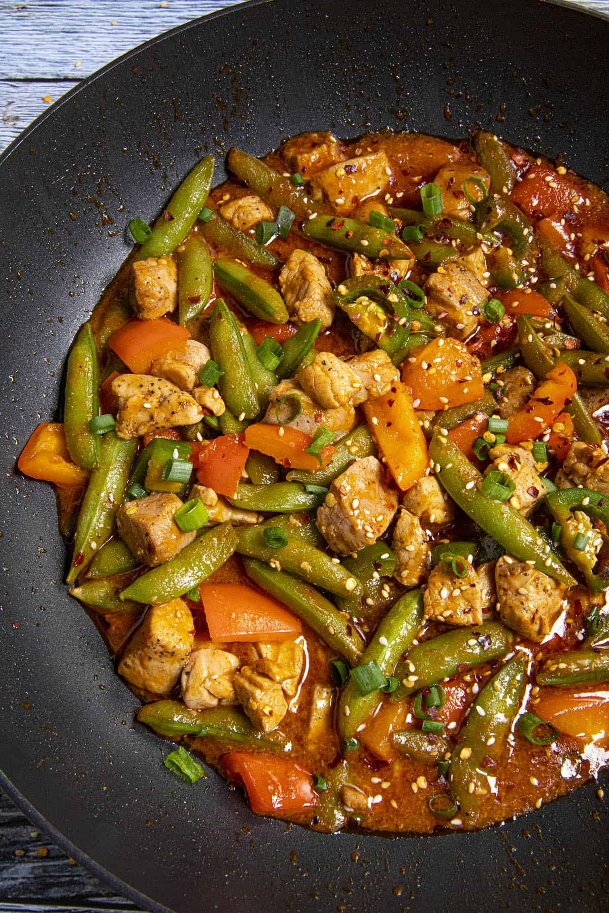 Spicy Pork Stir Fry in a pan, ready to serve