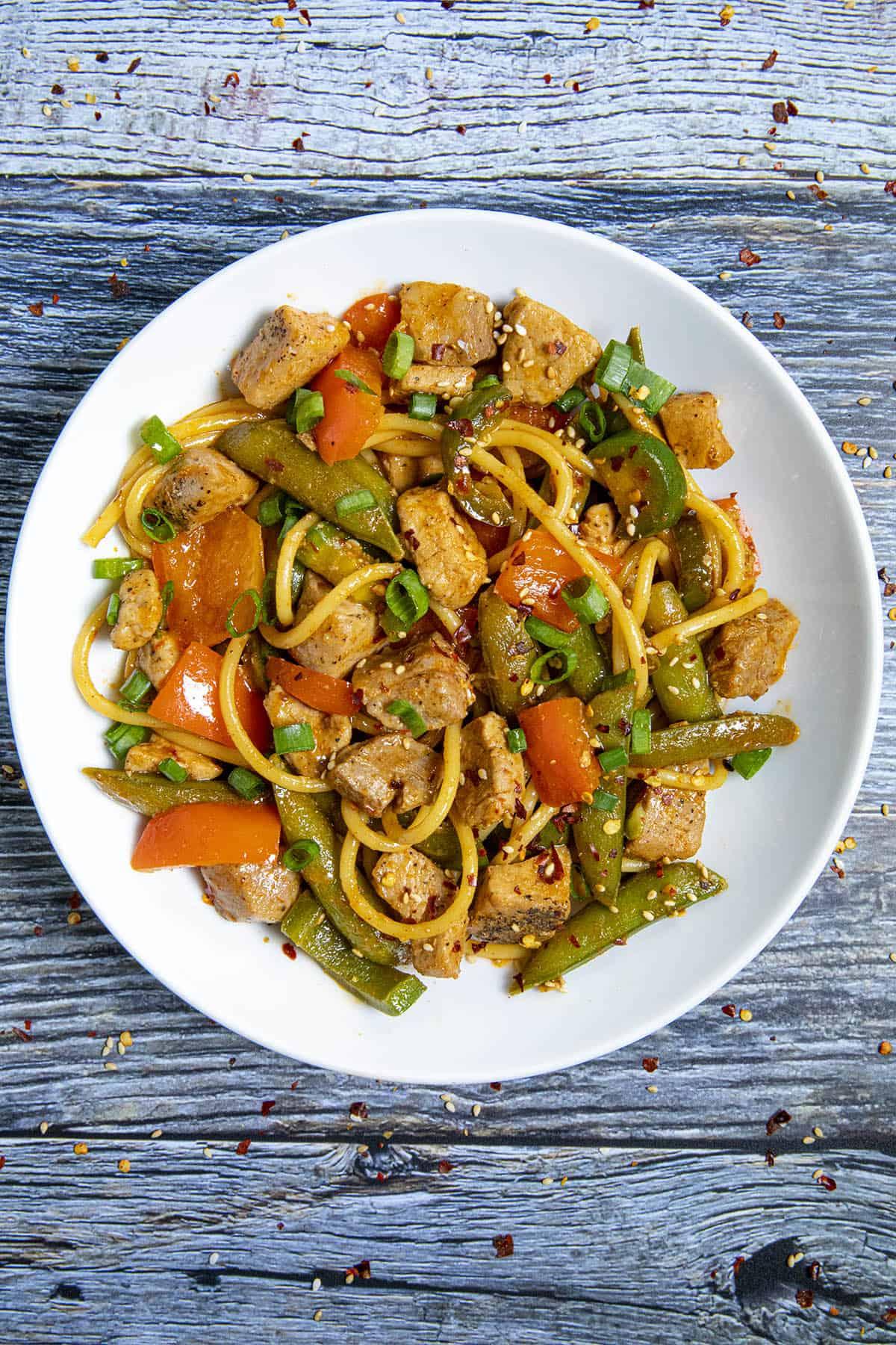 Spicy Pork Stir Fry in a bowl, ready to serve